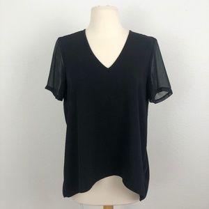 TopShop Black V Neck Blouse Size 4
